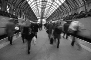 people walking in train station