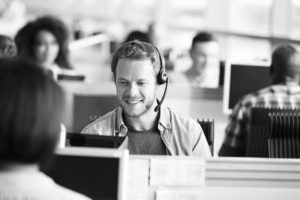 consultant talking on headset