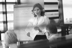 woman making presentation