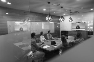 group of professional consultants working in office