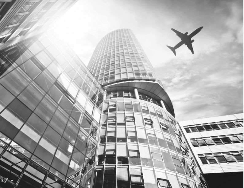 building with airplane