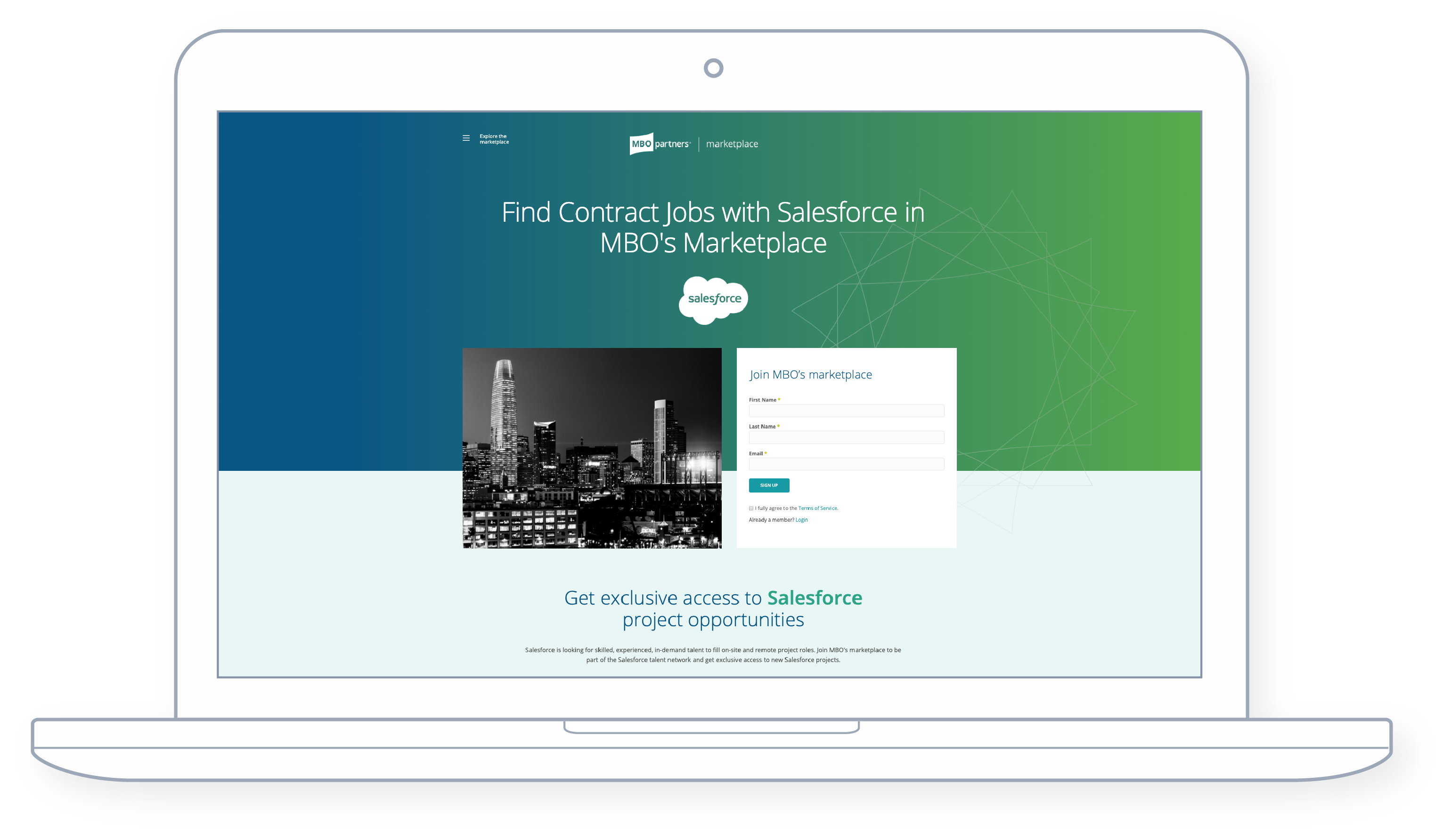 Salesforce marketplace page on laptop